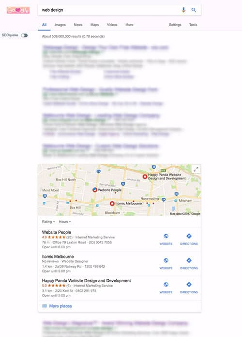 Local SEO - search result example