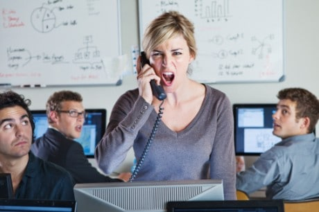 A woman stress about calling hosting provider