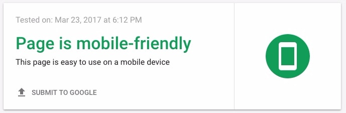 Page is mobile-friendly - Google Mobile Test