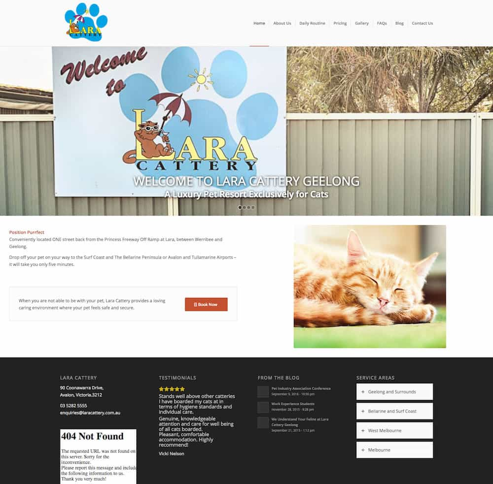 A screenshot of the old cattery website