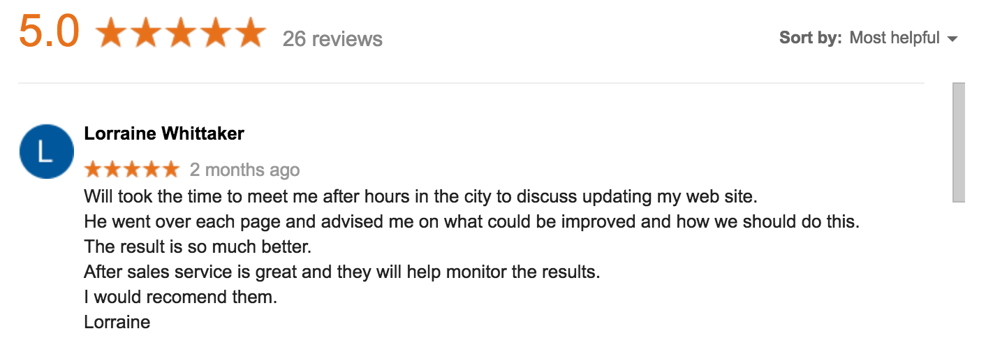 A review on Google from Lorraine, a small business owner