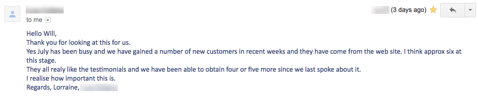 a sceenshot of the email conversion of new customer acquisition